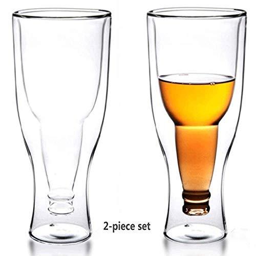 RED SHORE Auf den Kopf gestellt doppelwandiges Bierglas 2er-Set Becher für Cocktails, Spirituosen und andere heiße, kalte Getränke Einzigartiges Geschenk für Geburtstagsferien und mehr Pilsner Becher-set