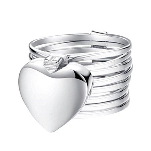 (Frauen Mädchen 2018Ring Mingfa Love Herz Roll-Zusammenklappbar Armband Ring Hochzeit Verlobung Ringe Party Charm Schmuck, Legierung, Silber, 9)