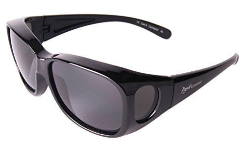 Rapid Eyewear Negro SOBRE GAFAS DE SOL encima graduadas:
