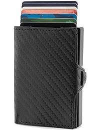 fd3ed420c5842 ZNAP Kartenetui mit Geldklammer aus Aluminium mit Münzfach - RFID Schutz - Slim  Wallet Carbon Schwarz - bis 12 Karten – Geld Clip von…
