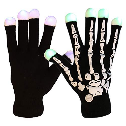 IBLUELOVER LED-Skelett-Handschuhe, Beleuchtung, 7 Farben, Blinkende Fingerspitzen, für Jungen/Mädchen, Radfahren, Laufen, Halloween, Party, Schwarz