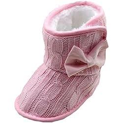 Minetom Bambini Invernali Calzature Per Stivali Caldi Antiscivolo Bowknot Scarpine Prewalkers Rosa 13cm(12-18 Mesi)
