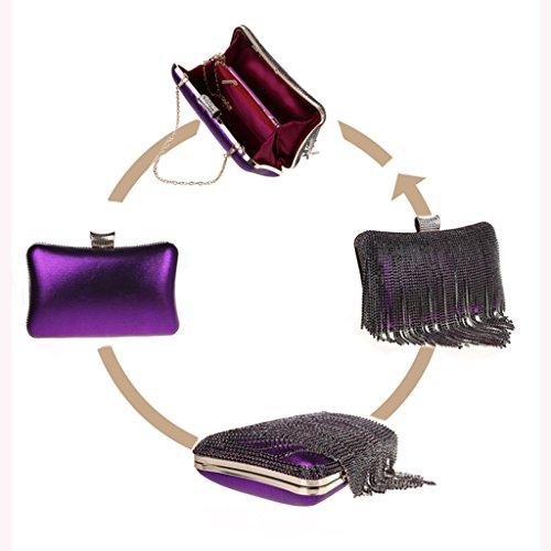 La pochette nuova borsa da sera moda borsa borsa fibbia diamante nappa banchetto ( Colore : Viola ) Viola