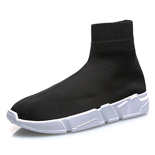 MForshop Scarpe Donna Ginnastica Sneakers calzino No Lacci Palestra Corsa K3600 (38, Nero)