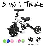 KORIMEFA 3 en 1 Vélo Draisienne Tricycle Évolutif pour Enfants 1-3 Ans Premier Vélo pour Bébés Filles Garçons Selle et Guidon Réglable (Blanc)