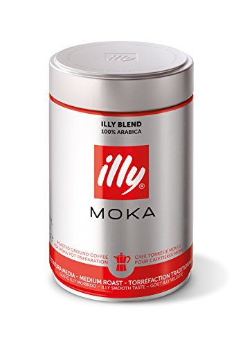 Illy Coffee, Classico Ground Coffee for Moka Pots, Medium Roast, 100% Arabica Coffee Beans, 250 g