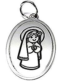 Colgante plata ley 925m 22mm. medalla Virgen niña cerco [AA8300]