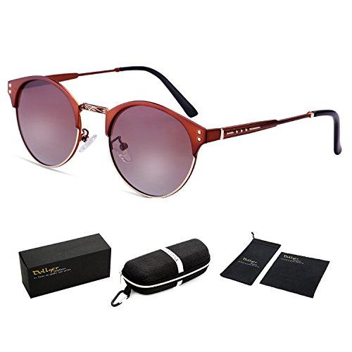 Dollger Clubmaster Polarized Wayfarer Sunglasses Horn Rimmed Half Frame Brown Gradient+Brown Frame