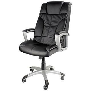 Tiga Bürostuhl mit Massagefunktion, Shiatsu Chefsessel, Relax Bürosessel mit 3 Massagearten, Knet-, Rollen- & Vibrationsmassage + Infrarot-Wärme, Schreibtischstuhl, Drehstuhl - Kunstleder schwarz