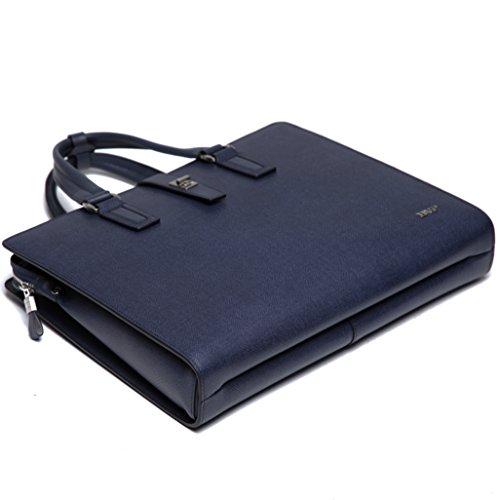 BVP Edle Modeherz Aktentasche&Laptoptasche Für Herren Aus Leder In Elegantem Grau Mit Jeanstoff Muster T1012 Blau+Grau+Kaffee (Kaffee) Blau