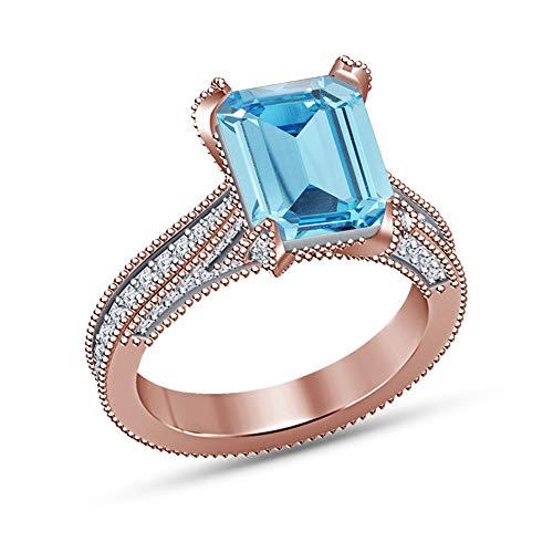 Vorra Fashion  -  925 Sterlingsilber Sterling-Silber 925 Smaragdschliff Rund Blue Synthetischer Aquamarin (Ringe Aquamarin Im Smaragdschliff)