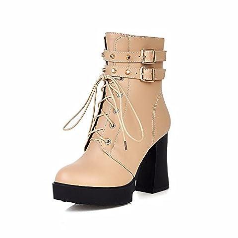 The Autumn And Winter Side Zip Short Boots Female Western Wind Tether High-Heel Shoes Round Head Rough With Ladies Boot Waterproof Desktop Belt Lacing Boots Children,Beige,35