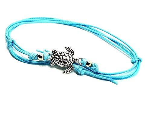 Eclectic Shop Uk Verstellbar Schildkröte Fußkette Hawaii Schildkröte Perlenbesetzt Bohemian Boho Fußkettchen Fuß Strand Schmuck Aquamarin Schnur Spitze Geschenk