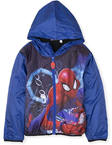 Spiderman Marvel Official Licensed Boys Warm Zipped Jacket, Coat Polar Fleece Lining for Spring/Summer/Autumn