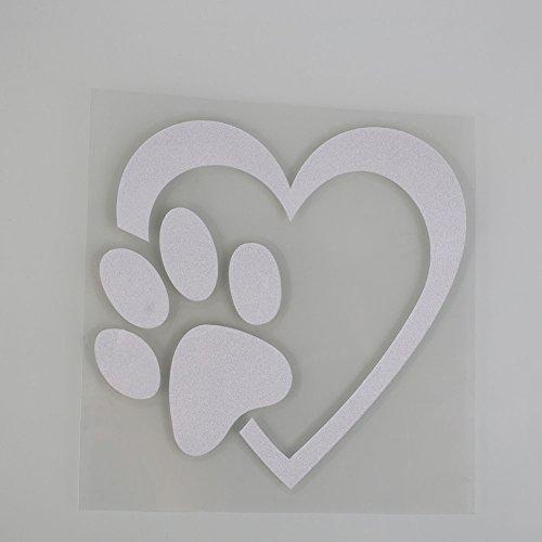 Sedeta Weiß Auto Aufkleber und Abziehbilder 1 Stück Reflektierende lustige Liebe Haustier Hund Katze Tier Paw Print auf -