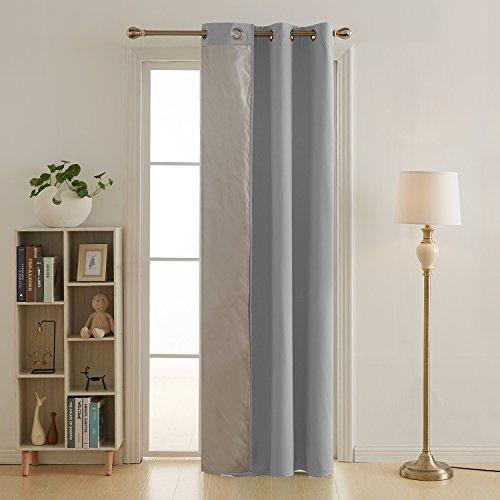 Deconovo Vorhang mit Ösen für Wohnzimmer Oxford Thermovorhang Gardinen 240x135 cm Hellgrau