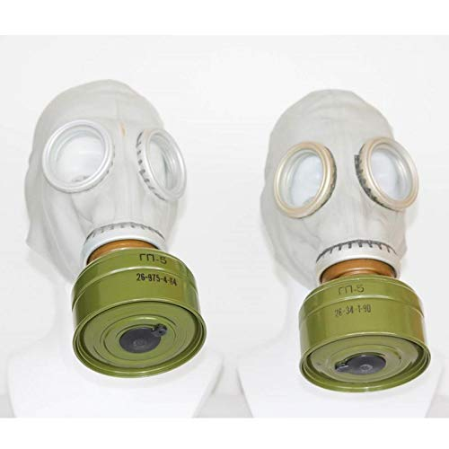 OldShop Set of Two original Soviet Russian USSR Gas Masks GP-5 in Gray Both Masks with Filters Funy Gift WWII