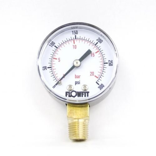 flowfit 50mm Trocken/Pneumatik Manometer 0–300psi (21bar) 1/10,2cm BSP unten/Base Eintrag (300 Psi Gauge)