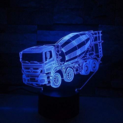 3D Nachtlicht Truck Bus Mixer Container Truck Feuerwehrauto 3D Led Nachtlichter Für Kinder Touch Usb Tisch Lampara Lampe Nightlight Touch 7 Farben Farbe Veränderbar