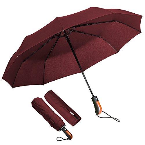 Echoice ombrello portatile automatico antivento, ombrello pieghevole resistente con custodia 10 stecche rinforzate, ombrello da viaggio per uomo e donna (rosso)