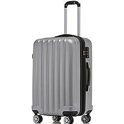 BEIBYE TSA-Schloß 2080 Hangepäck Zwillingsrollen neu Reisekoffer Koffer Trolley Hartschale Set-XL-L-M(Boardcase) in 12 Farben (Silber, XL-Großer Koffer (76 cm))