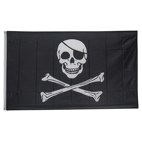 Amosfun Piraten Piratenflagge Halloween Schädel Flagge Gruselhaus Dekoration für Cosplay Party 90x150cm