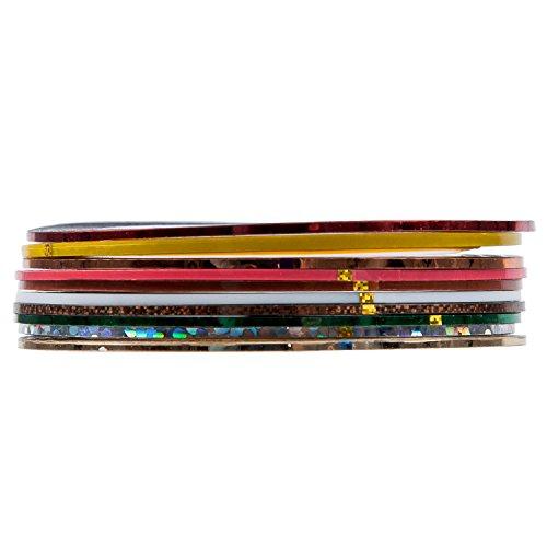 SODIAL(R) SET de 10 Nail bande Stripe Decoration Autocollant hologramme