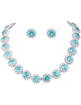 EVER FAITH® CZ Elegant Stern Round Anne Hathaway Form Halskette Ohrringe Set - blau N02862-5