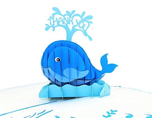 igifts und Karten Wal Thank You 3D Pop up Grußkarte-Große, Dankbarkeit, Dank-flach zusammenklappbar-Vielen Dank, nur weil, Thinking of You