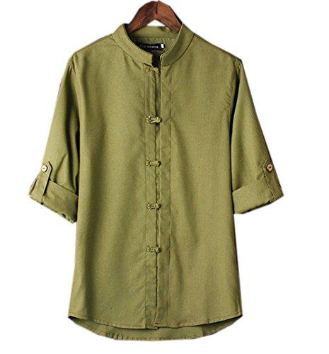 COCO clothing Verano Camisa Hombre Lino Blusa Caballero Tops Cuello Mao Casual Camiseta Estilo de China Shirt (verde militar, L)