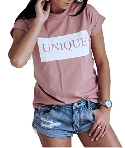252f9a01c0 CuteRose Women Short Sleeve Simple Casual Leisure Tees Top Summer T-Shirts  5 L