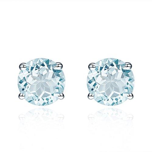 hutang Jewelry 925Sterling Silber 1,47CT natürlicher Aquamarin Rund 6mm Ohrstecker Ohrringe Feiner Edelstein Damen - Ohrstecker Runde Aquamarin