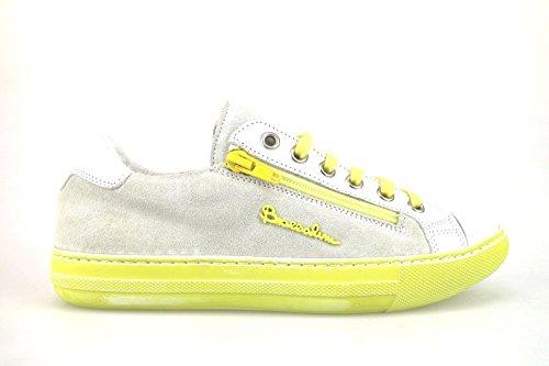 scarpe donna BRACCIALINI sneakers giallo bianco camoscio pelle AH368 (38 EU)