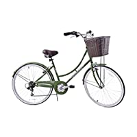"Ammaco Classique 26"" Wheel Heritage Traditional Classic Ladies Lifestyle Bike & Basket 19"" Frame Dutch Style Olive"
