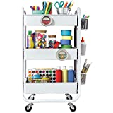 DESIGNA Storage Trolley 3 Tier Rolling Cart Metal Utility Storage Cart Sturdy Rolling Trolley Serving Trolley with Dual Locking Wheels Suitable for Home Office Kitchen Bedroom Garage White