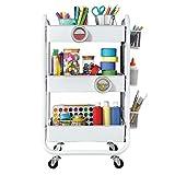 Carrito de almacenamiento con ruedas de metal de 3 niveles DESIGNA con asa de utilidad y accesorios de almacenamiento adicionales, blanco