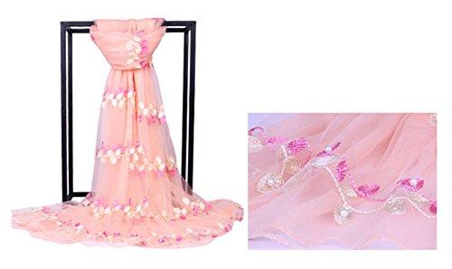 Mme Écharpe Nylon Filament Broderie Perlage Sept Couleurs écharpes Longues pink