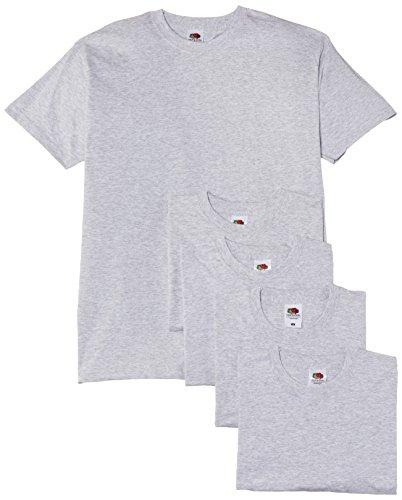 Fruit of the loom - maglietta a maniche corte da uomo, colore grigio (heather grey), taglia xxl, confezione da 5