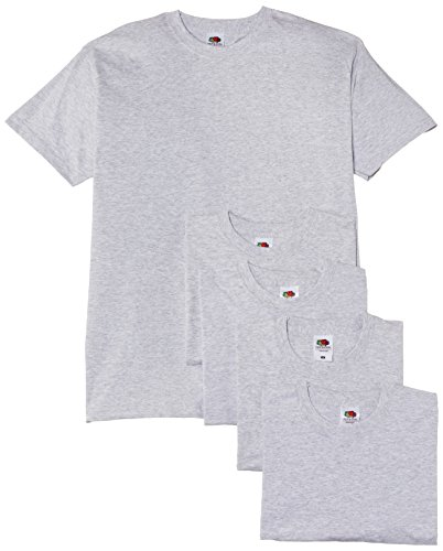 Fruit of the Loom Herren, T-Shirt, Valueweight T Shirt 5 Pack Grau Meliert