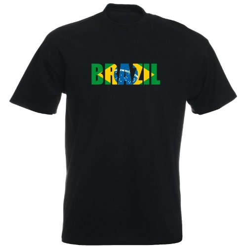 T-Shirt - Brazil - Fahne - Brasilien - Herren - unisex Schwarz