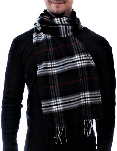 ADAMANT® Climasoft Schal Herren | MADE IN GERMANY | verschiedene Muster, 180cm x 30cm - Modischer Schal für Business und Alltag (schwarz) (Männer Muster Schal)