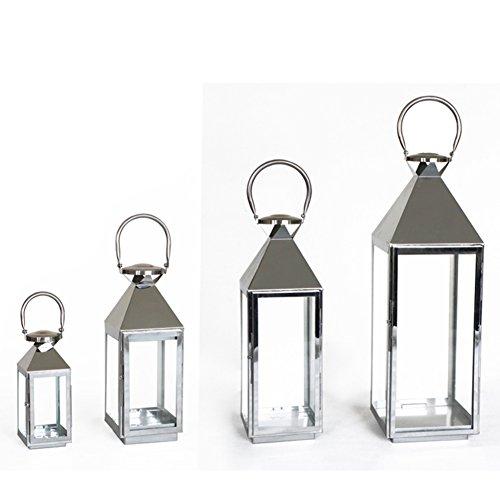 Étage classique européen chandelier ornements [Portable lanterne de verre en acier inoxydable] stand de porte bougie décoration à la maison portable inox verre lanterne -D