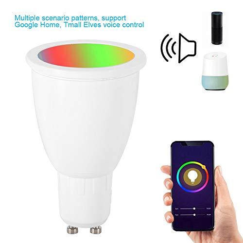 GYGUYHIHY Smart LED-Lampe WLAN Mehrfarbige Dimmbare LED Glühbirne GU10 6W Ersetzt 60 Watt, Ohne Hub Benötig, Kompatibel Mit Alexa Und Google Assistant, 600 Lumen, Warmweiß [2 Packungen],G10