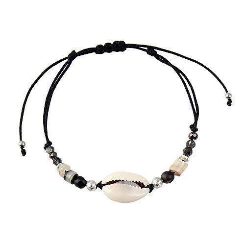 Made by Nami Armband Damen und Herren Freundschaftsarmband Surferarmband Perlenarmband Muschelarmband Armbänder - Surfer Schmuck mit Anhänger Muschel (Black)