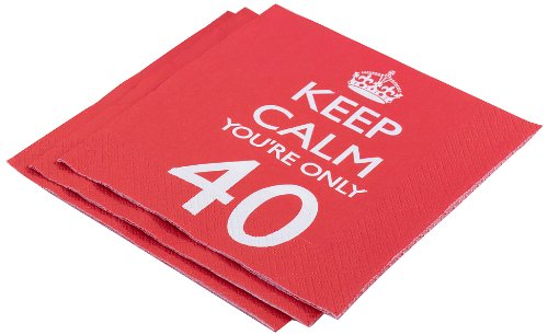 "Neviti - Tovaglioli di carta ""Keep Calm you're only 40"""