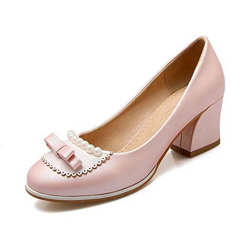 314be38181cfcf VogueZone009 Damen Rund Zehe Ziehen Auf Pu Leder Rein Mittler Absatz Pumps  Schuhe Pink