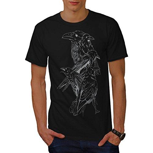 Vier schaurig Rabe Krähe Vögel Herren L T-shirt | Wellcoda (Gehen Cheetah)