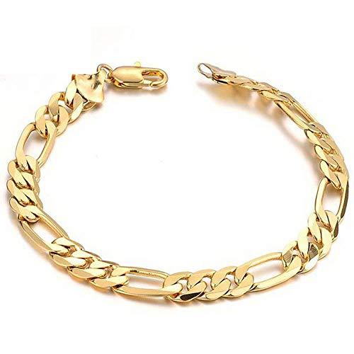Z-Bracelet @ Herren Armband, 18 Karat Gold Damen Herren Jungen Chunky Cuban Armband Mit Karabinerverschluss, 7 Mm Breite, 21 cm Länge (Geschenkbox) (Gold Armband Kind)