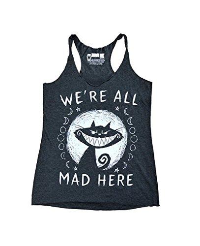 Akumu Ink We are all mad here Tank Top Shirt Katze Comic Schwarz