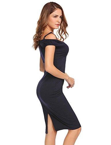 Scallop Damen Kleid Abendkleid Cocktailkleid V-Ausschnit Off Shoulder Stretch Bodycon Enges Vintage PartyKleid Dunkelblau